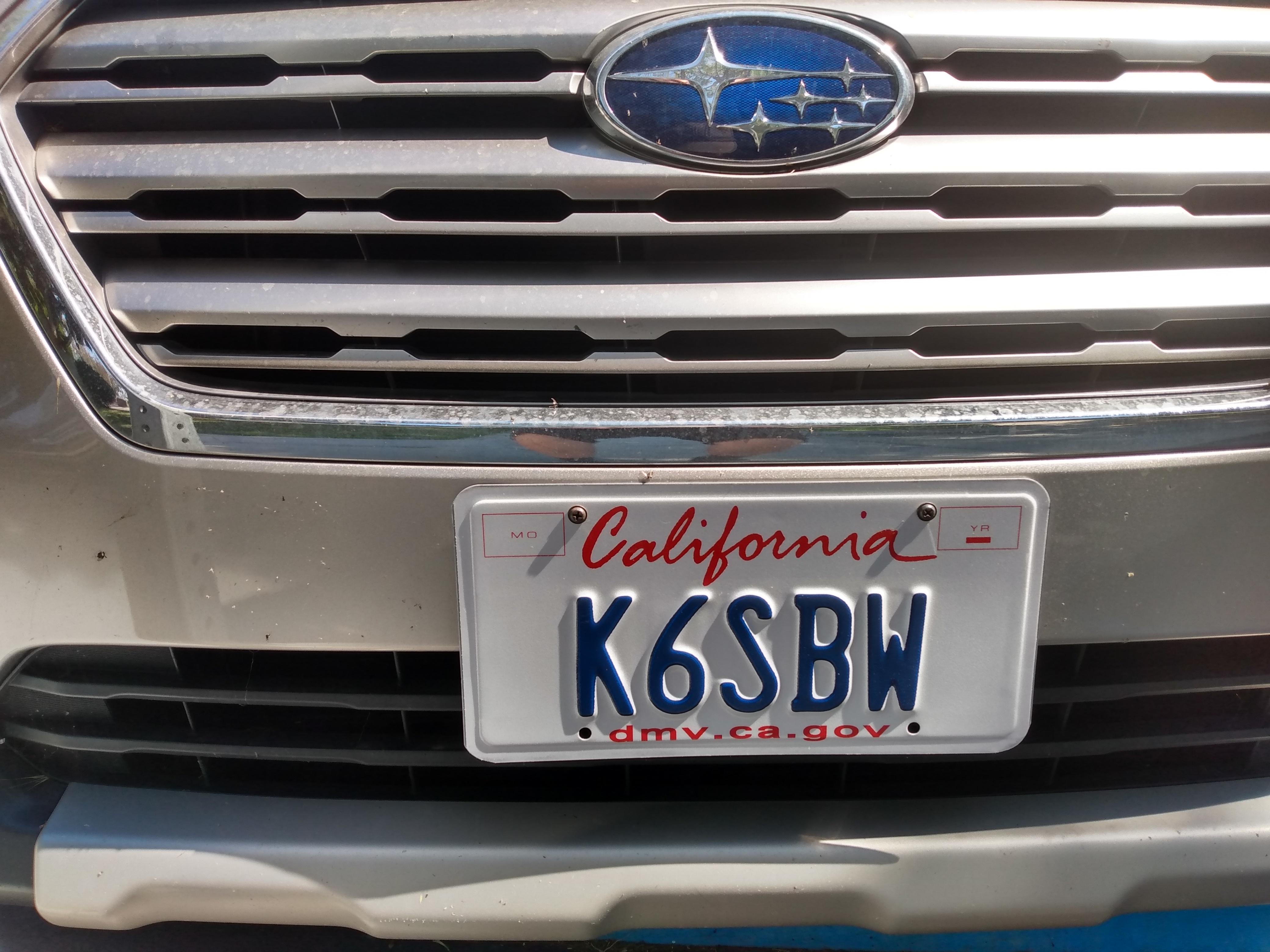 California License Plate K6SBW